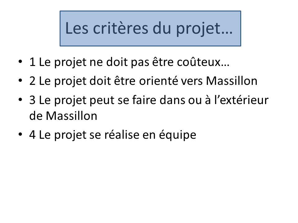 Les critères du projet… 1 Le projet ne doit pas être coûteux… 2 Le projet doit être orienté vers Massillon 3 Le projet peut se faire dans ou à l'extér