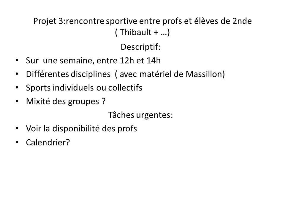 Projet 3:rencontre sportive entre profs et élèves de 2nde ( Thibault + …) Descriptif: Sur une semaine, entre 12h et 14h Différentes disciplines ( avec