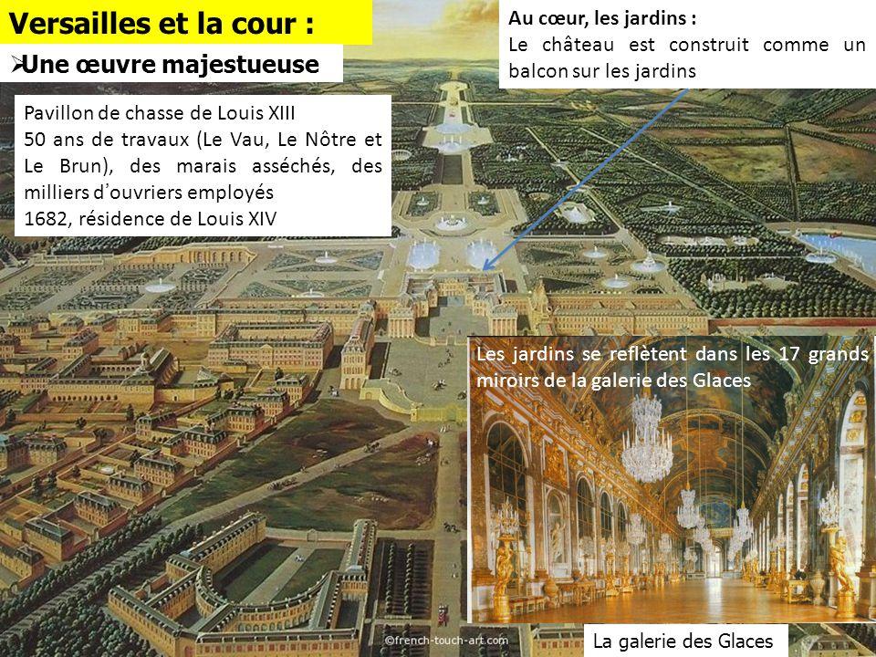 Versailles et la cour : Pavillon de chasse de Louis XIII 50 ans de travaux (Le Vau, Le Nôtre et Le Brun), des marais asséchés, des milliers d'ouvriers
