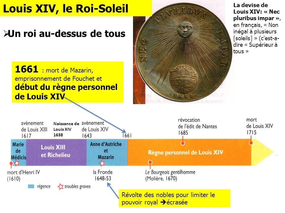 Naissance de Louis XIV 1638 La devise de Louis XIV: « Nec pluribus impar », en français, « Non inégal à plusieurs [soleils] » (c'est-a- dire « Supérie