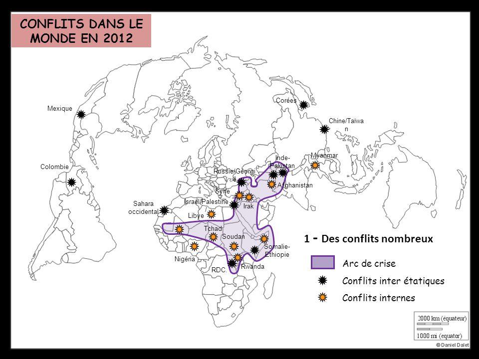 1 - Des conflits nombreux Arc de crise Conflits inter étatiques Sahara occidental RDC. Israël/Palestine / Russie/Géorgi e Afghanistan Inde- Pakistan C