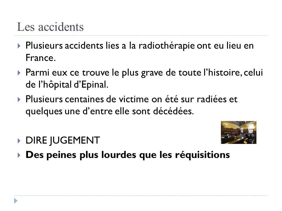 Les accidents  Plusieurs accidents lies a la radiothérapie ont eu lieu en France.  Parmi eux ce trouve le plus grave de toute l'histoire, celui de l