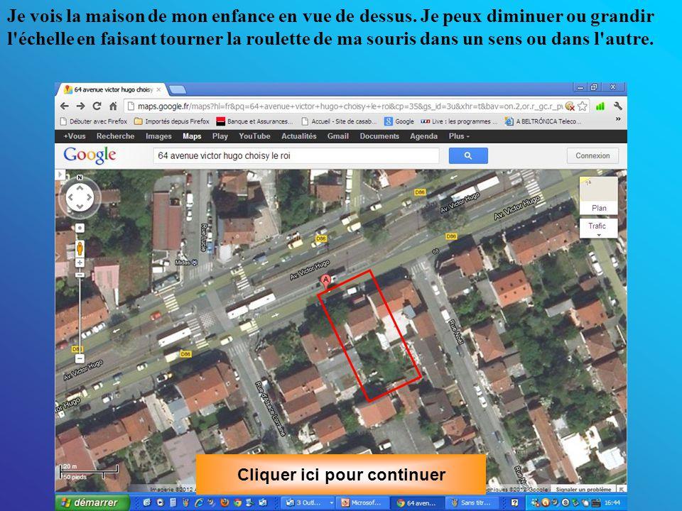 En cliquant en haut à droite sur Satellite , on nous offre la vue satellite.