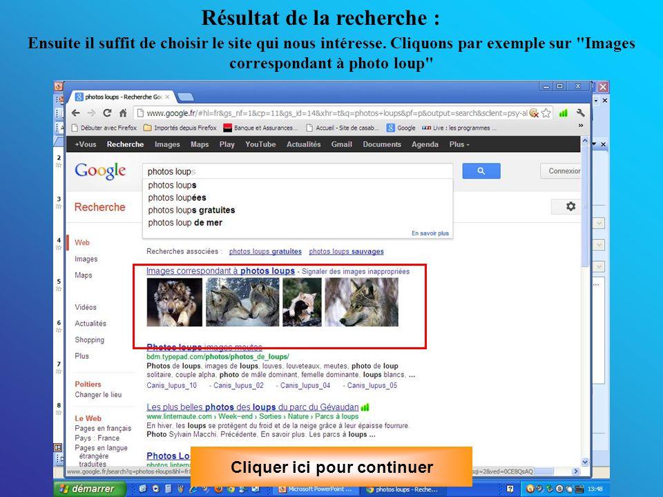 Par un clic bouton gauche de la souris, vous pouvez l enregistrer En glissant le curseur (clic droit de la souris puis glisser le curseur en maintenant le clic), on change la taille de l image sur l écran Cliquer ici pour continuer
