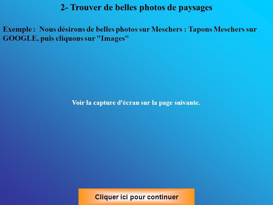 Exemple : Nous désirons de belles photos sur Meschers : Tapons Meschers sur GOOGLE, puis cliquons sur Images Voir la capture d écran sur la page suivante.