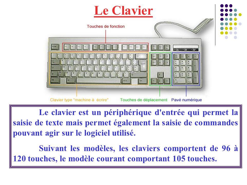 Le Clavier Le clavier est un périphérique d'entrée qui permet la saisie de texte mais permet également la saisie de commandes pouvant agir sur le logi