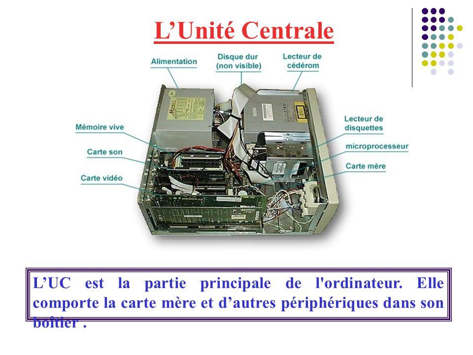 L'Unité Centrale L'UC est la partie principale de l'ordinateur. Elle comporte la carte mère et d'autres périphériques dans son boîtier.