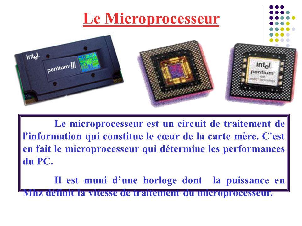 Le Microprocesseur Le microprocesseur est un circuit de traitement de l'information qui constitue le cœur de la carte mère. C'est en fait le microproc
