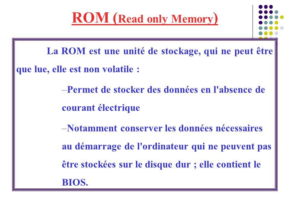 ROM ( Read only Memory ) La ROM est une unité de stockage, qui ne peut être que lue, elle est non volatile : –Permet de stocker des données en l'absen