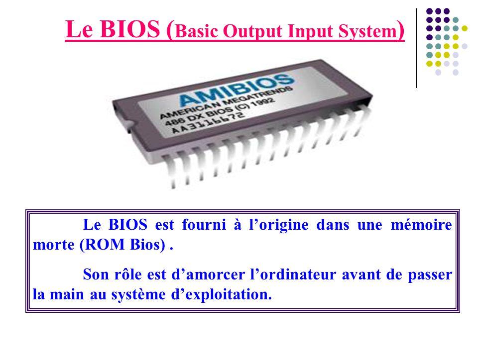 Le BIOS ( Basic Output Input System ) Le BIOS est fourni à l'origine dans une mémoire morte (ROM Bios). Son rôle est d'amorcer l'ordinateur avant de p