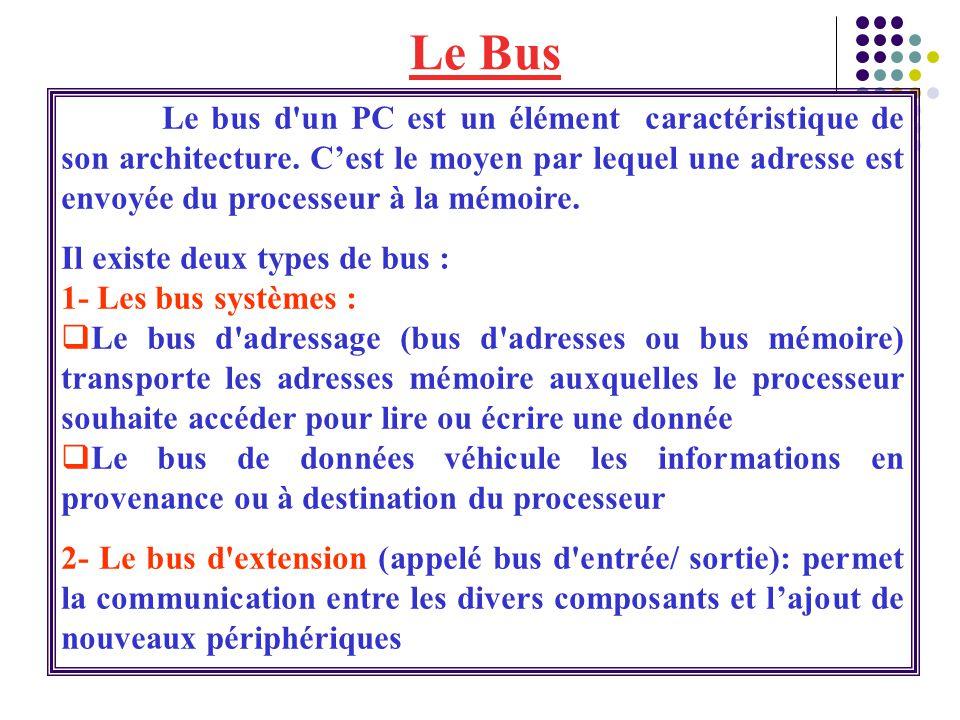 Le bus d'un PC est un élément caractéristique de son architecture. C'est le moyen par lequel une adresse est envoyée du processeur à la mémoire. Il ex