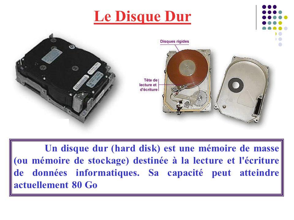 Le Disque Dur Un disque dur (hard disk) est une mémoire de masse (ou mémoire de stockage) destinée à la lecture et l'écriture de données informatiques