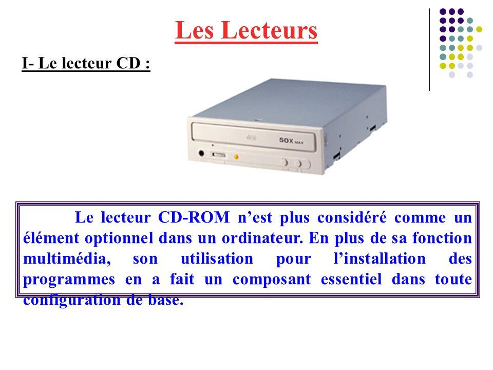 Les Lecteurs Le lecteur CD-ROM n'est plus considéré comme un élément optionnel dans un ordinateur. En plus de sa fonction multimédia, son utilisation