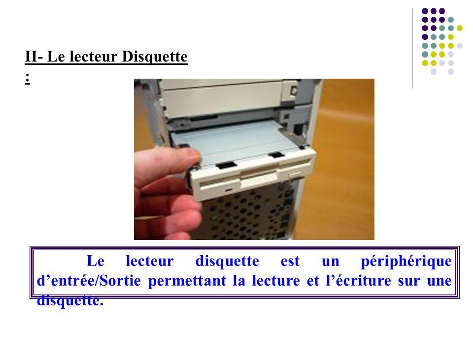 II- Le lecteur Disquette : Le lecteur disquette est un périphérique d'entrée/Sortie permettant la lecture et l'écriture sur une disquette.