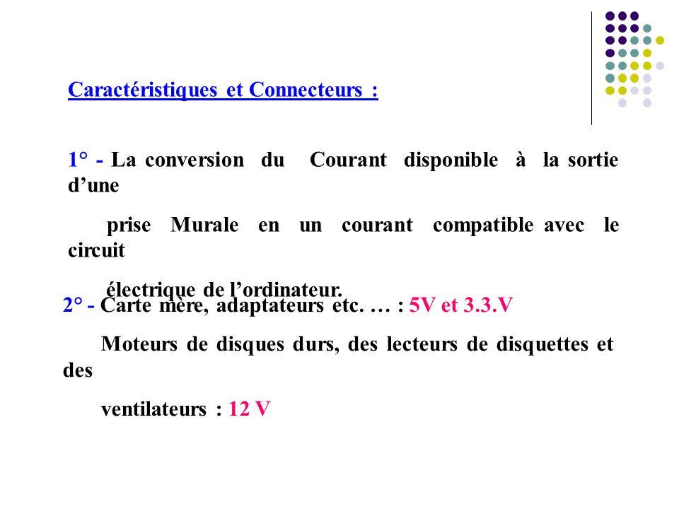 1° - La conversion du Courant disponible à la sortie d'une prise Murale en un courant compatible avec le circuit électrique de l'ordinateur. 2° - Cart