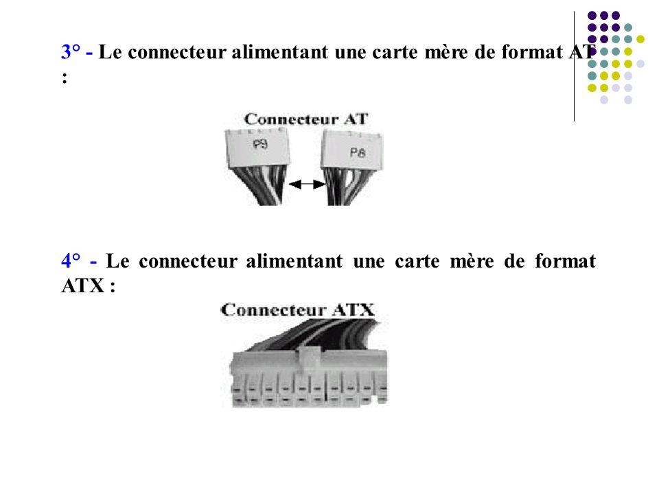 3° - Le connecteur alimentant une carte mère de format AT : 4° - Le connecteur alimentant une carte mère de format ATX :
