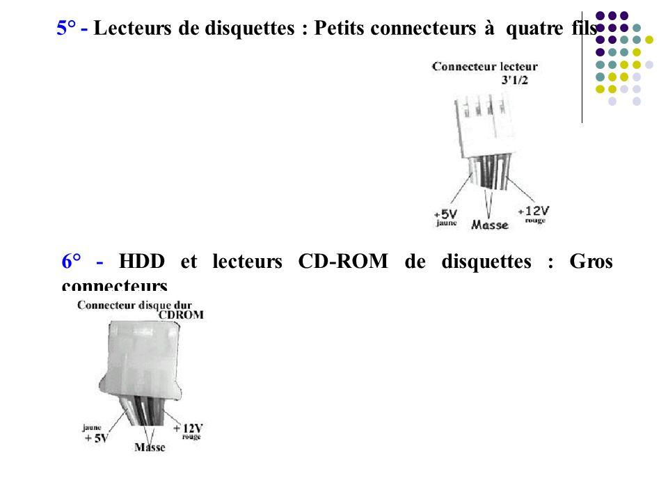 5° - Lecteurs de disquettes : Petits connecteurs à quatre fils 6° - HDD et lecteurs CD-ROM de disquettes : Gros connecteurs