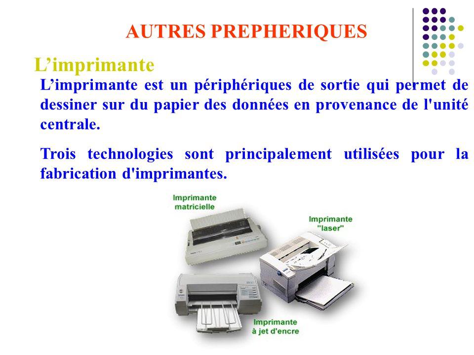 AUTRES PREPHERIQUES L'imprimante L'imprimante est un périphériques de sortie qui permet de dessiner sur du papier des données en provenance de l'unité