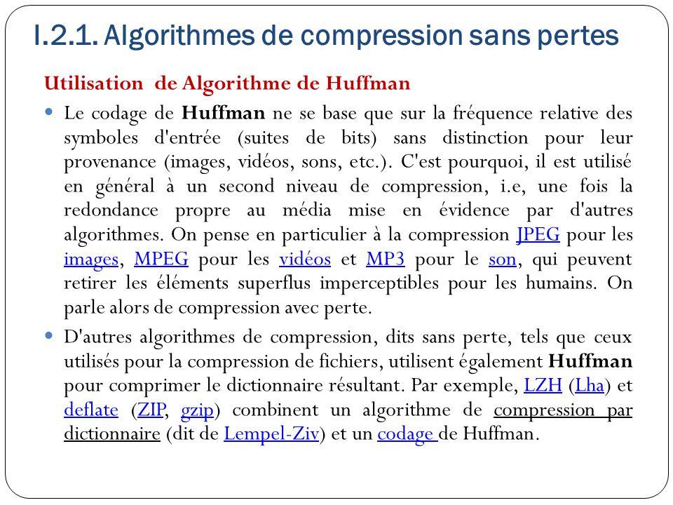 Utilisation de Algorithme de Huffman Le codage de Huffman ne se base que sur la fréquence relative des symboles d'entrée (suites de bits) sans distinc