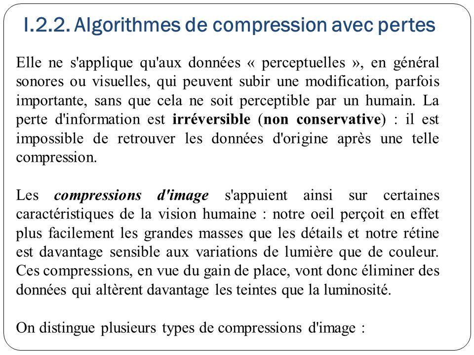 I.2.2. Algorithmes de compression avec pertes Elle ne s'applique qu'aux données « perceptuelles », en général sonores ou visuelles, qui peuvent subir