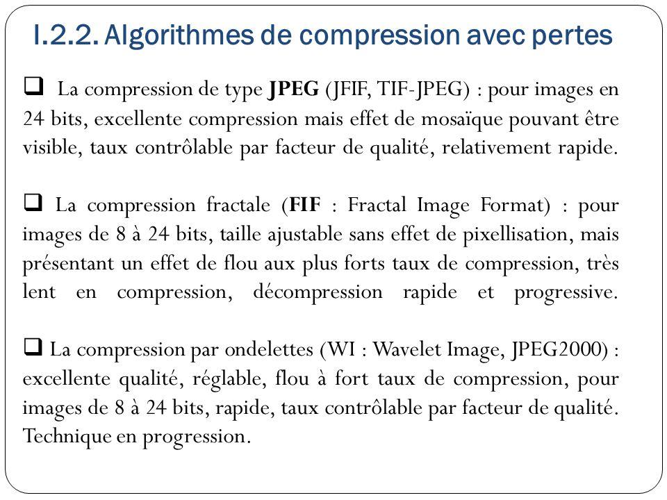 I.2.2. Algorithmes de compression avec pertes  La compression de type JPEG (JFIF, TIF-JPEG) : pour images en 24 bits, excellente compression mais eff