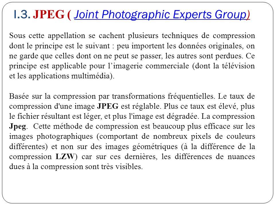 I.3. JPEG ( Joint Photographic Experts Group)Joint Photographic Experts Group Sous cette appellation se cachent plusieurs techniques de compression do