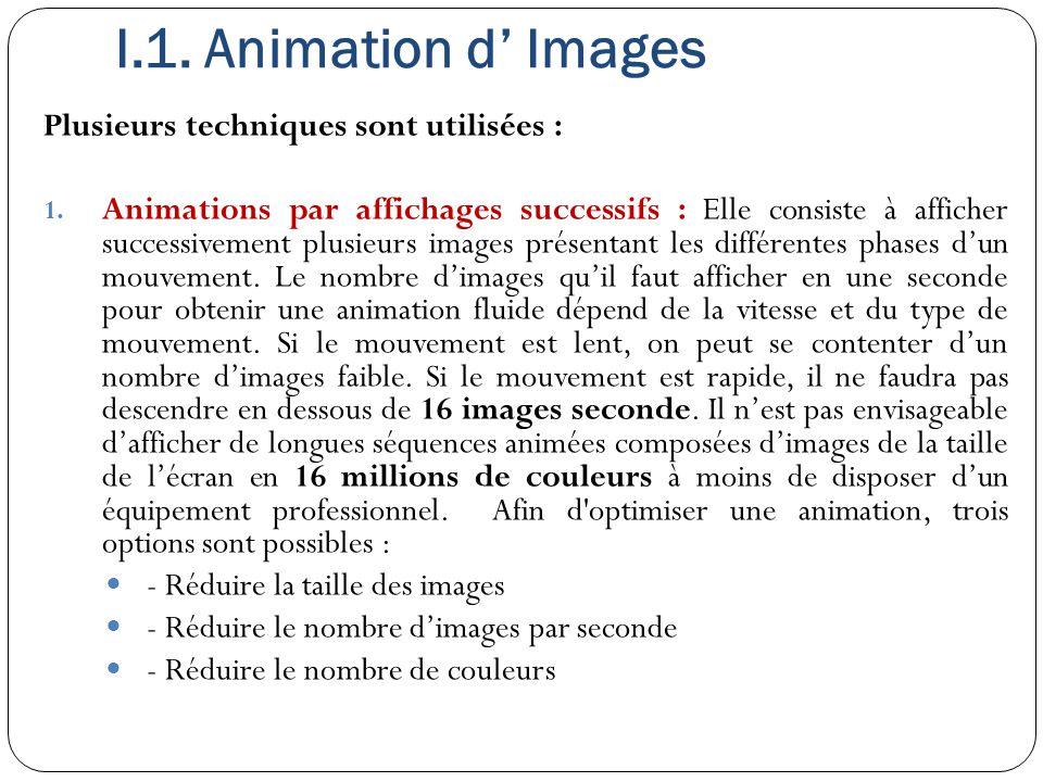 I.1. Animation d' Images Plusieurs techniques sont utilisées : 1. Animations par affichages successifs : Elle consiste à afficher successivement plusi