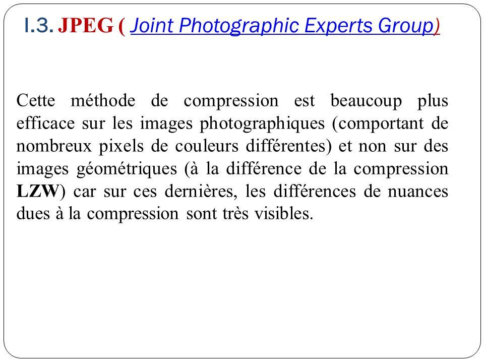Cette méthode de compression est beaucoup plus efficace sur les images photographiques (comportant de nombreux pixels de couleurs différentes) et non