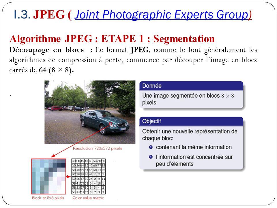 Algorithme JPEG : ETAPE 1 : Segmentation Découpage en blocs : Le format JPEG, comme le font généralement les algorithmes de compression à perte, comme