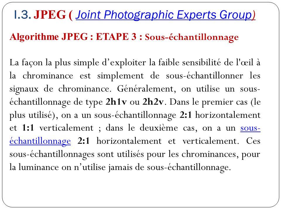 Algorithme JPEG : ETAPE 3 : Sous-échantillonnage La façon la plus simple d'exploiter la faible sensibilité de l'œil à la chrominance est simplement de
