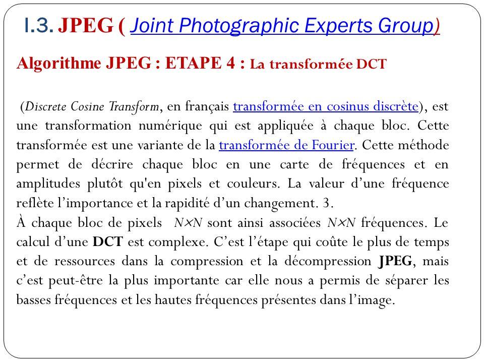 Algorithme JPEG : ETAPE 4 : La transformée DCT (Discrete Cosine Transform, en français transformée en cosinus discrète), est une transformation numéri
