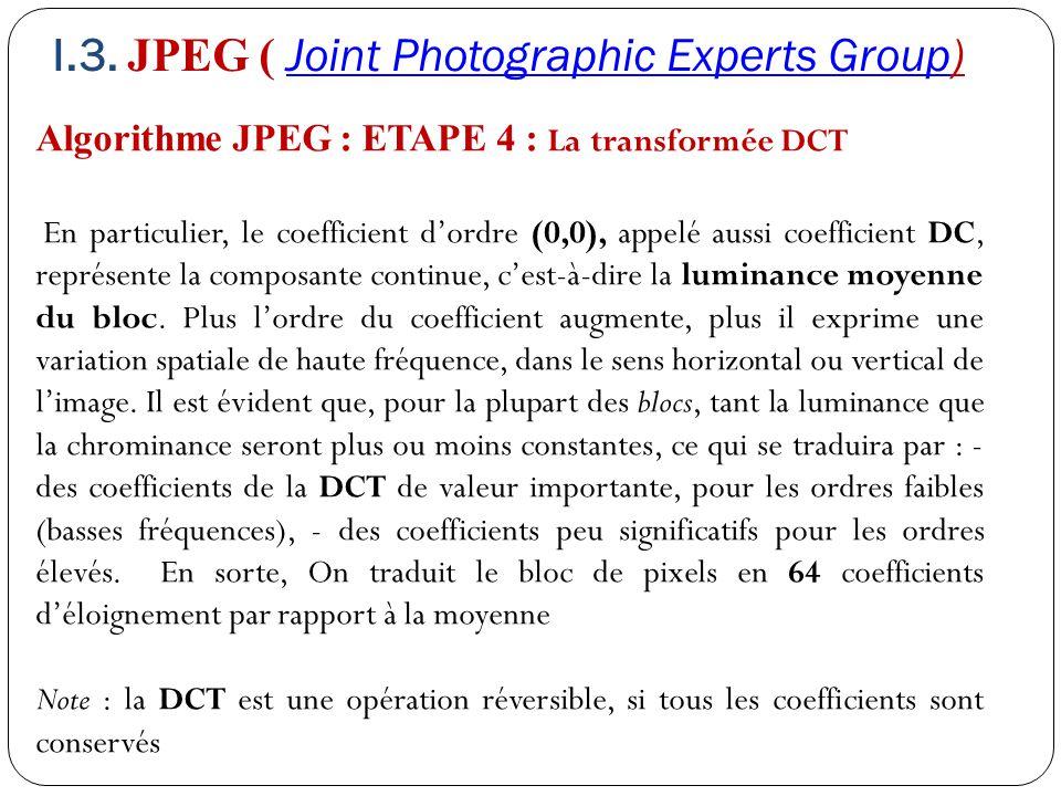 Algorithme JPEG : ETAPE 4 : La transformée DCT En particulier, le coefficient d'ordre (0,0), appelé aussi coefficient DC, représente la composante con