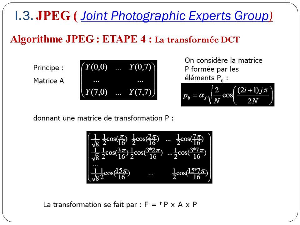 Algorithme JPEG : ETAPE 4 : La transformée DCT I.3. JPEG ( Joint Photographic Experts Group)Joint Photographic Experts Group