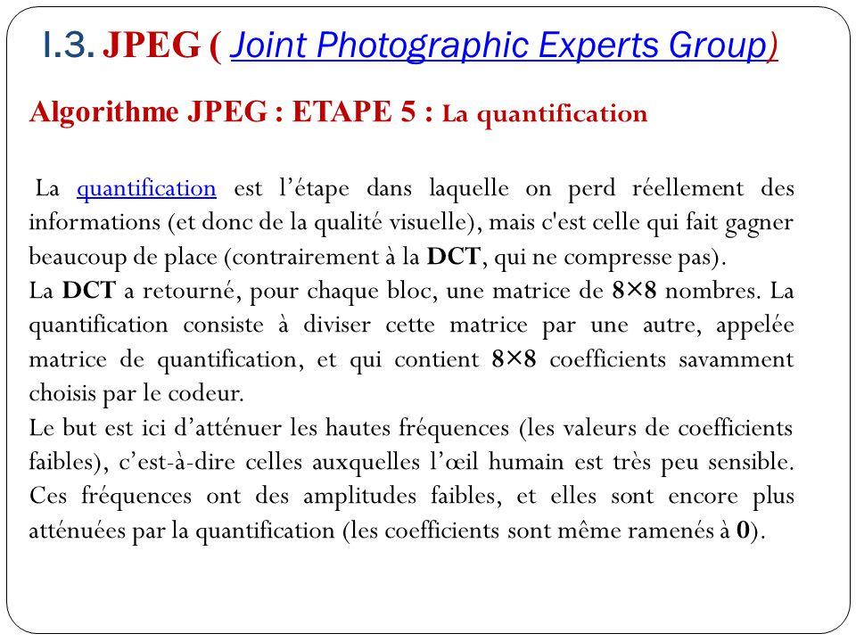 Algorithme JPEG : ETAPE 5 : La quantification La quantification est l'étape dans laquelle on perd réellement des informations (et donc de la qualité v
