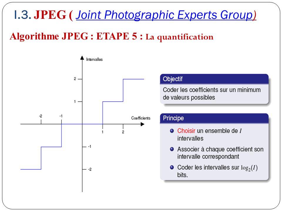 Algorithme JPEG : ETAPE 5 : La quantification I.3. JPEG ( Joint Photographic Experts Group)Joint Photographic Experts Group