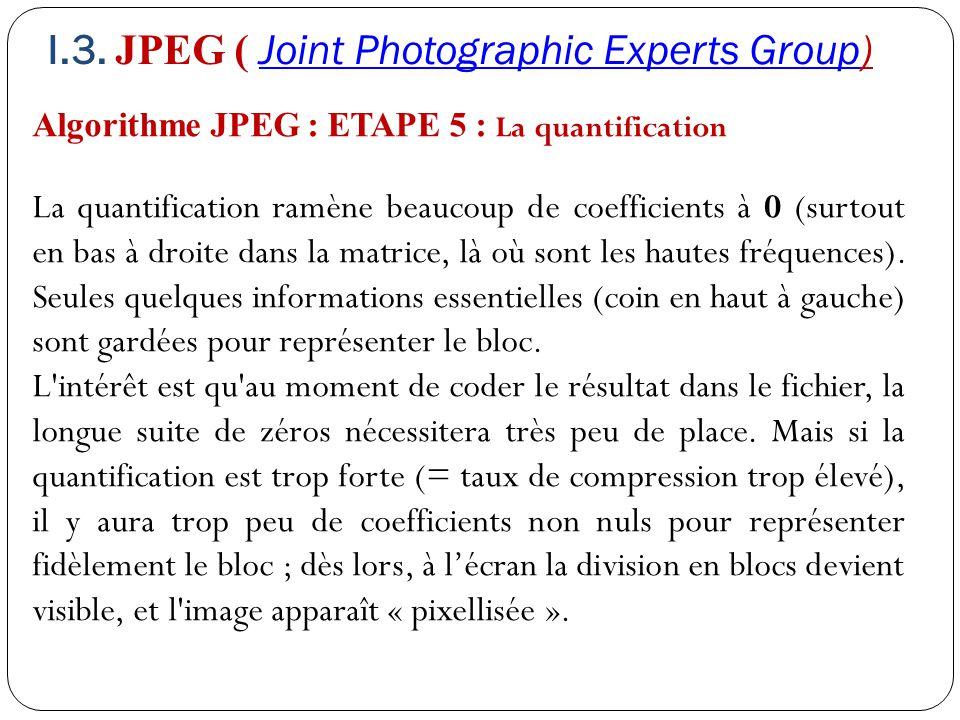 Algorithme JPEG : ETAPE 5 : La quantification La quantification ramène beaucoup de coefficients à 0 (surtout en bas à droite dans la matrice, là où so