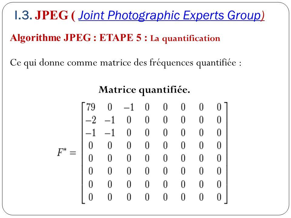 Algorithme JPEG : ETAPE 5 : La quantification Ce qui donne comme matrice des fréquences quantifiée : Matrice quantifiée. I.3. JPEG ( Joint Photographi