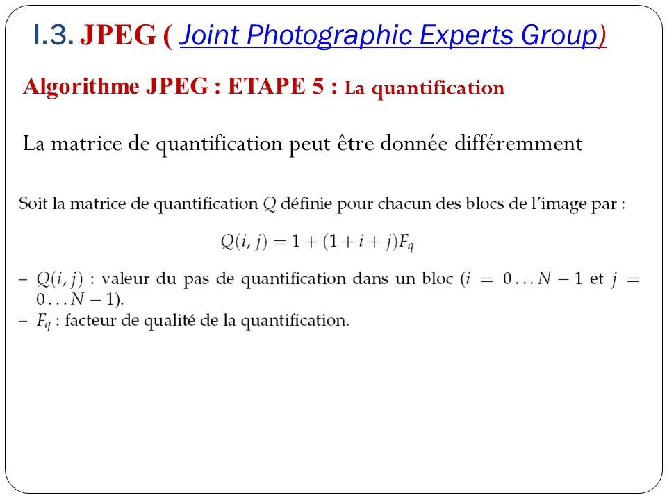 Algorithme JPEG : ETAPE 5 : La quantification La matrice de quantification peut être donnée différemment I.3. JPEG ( Joint Photographic Experts Group)