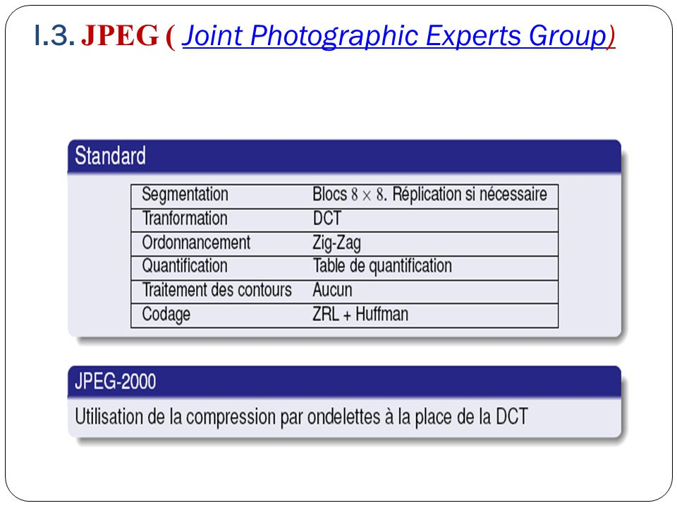 I.3. JPEG ( Joint Photographic Experts Group)Joint Photographic Experts Group