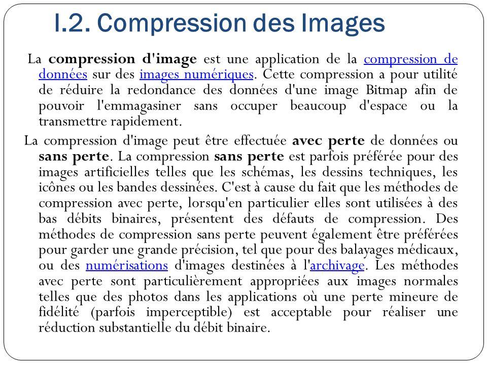 I.2. Compression des Images La compression d'image est une application de la compression de données sur des images numériques. Cette compression a pou