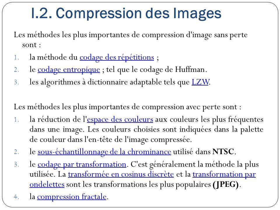 I.2. Compression des Images Les méthodes les plus importantes de compression d'image sans perte sont : 1. la méthode du codage des répétitions ;codage