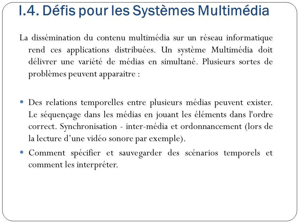 I.4. Défis pour les Systèmes Multimédia La dissémination du contenu multimédia sur un réseau informatique rend ces applications distribuées. Un systèm