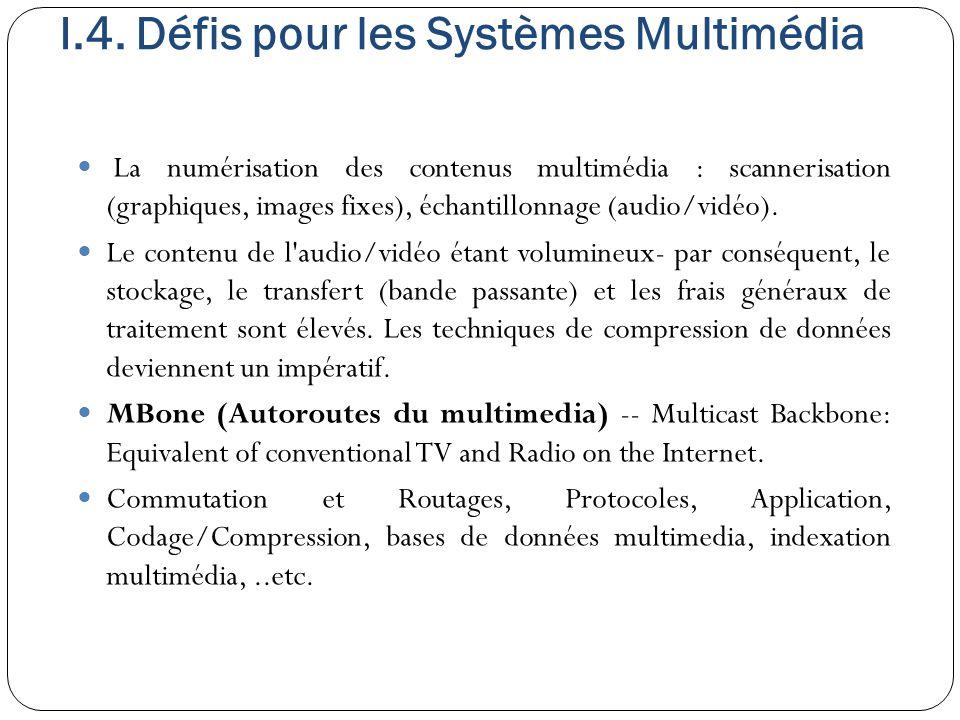 I.4. Défis pour les Systèmes Multimédia La numérisation des contenus multimédia : scannerisation (graphiques, images fixes), échantillonnage (audio/vi