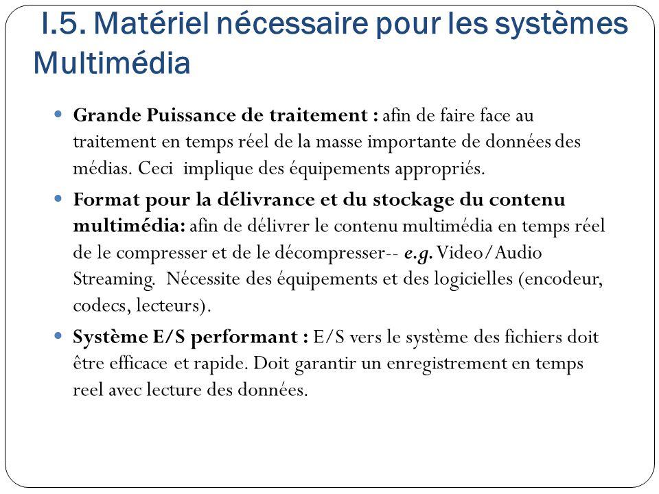 I.5. Matériel nécessaire pour les systèmes Multimédia Grande Puissance de traitement : afin de faire face au traitement en temps réel de la masse impo