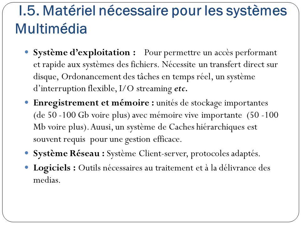 I.5. Matériel nécessaire pour les systèmes Multimédia Système d'exploitation : Pour permettre un accès performant et rapide aux systèmes des fichiers.
