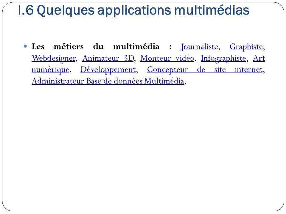 I.6 Quelques applications multimédias Les métiers du multimédia : Journaliste, Graphiste, Webdesigner, Animateur 3D, Monteur vidéo, Infographiste, Art