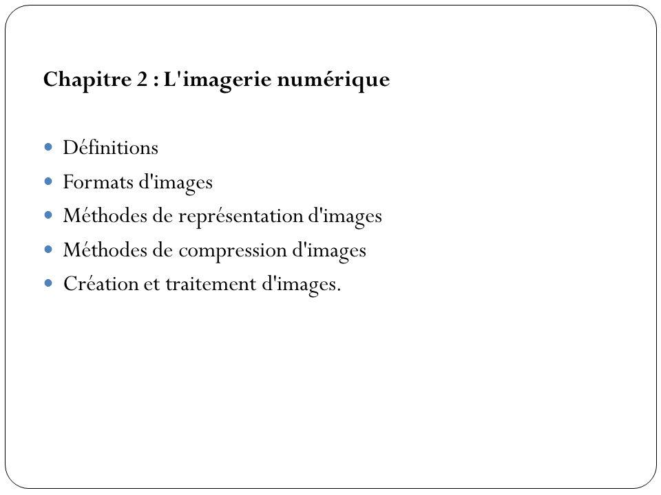 Chapitre 2 : L'imagerie numérique Définitions Formats d'images Méthodes de représentation d'images Méthodes de compression d'images Création et traite