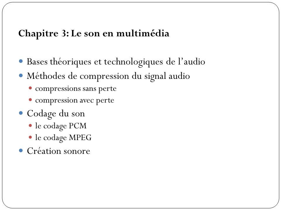 Chapitre 3: Le son en multimédia Bases théoriques et technologiques de l'audio Méthodes de compression du signal audio compressions sans perte compres