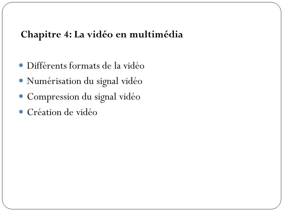 Chapitre 4: La vidéo en multimédia Différents formats de la vidéo Numérisation du signal vidéo Compression du signal vidéo Création de vidéo