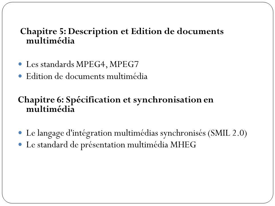 Chapitre 5: Description et Edition de documents multimédia Les standards MPEG4, MPEG7 Edition de documents multimédia Chapitre 6: Spécification et syn